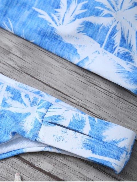 best Coconut Palm High Neck Bikini Set - BLUE AND WHITE M Mobile