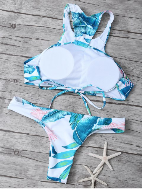 outfit Palm Tree High Neck Bikini Set - WHITE M Mobile