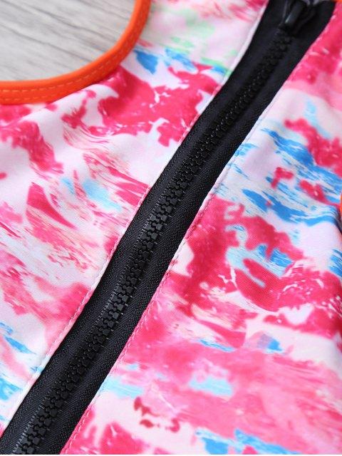 latest Printed High Neck Zip Front Bikini - MULTICOLOR M Mobile