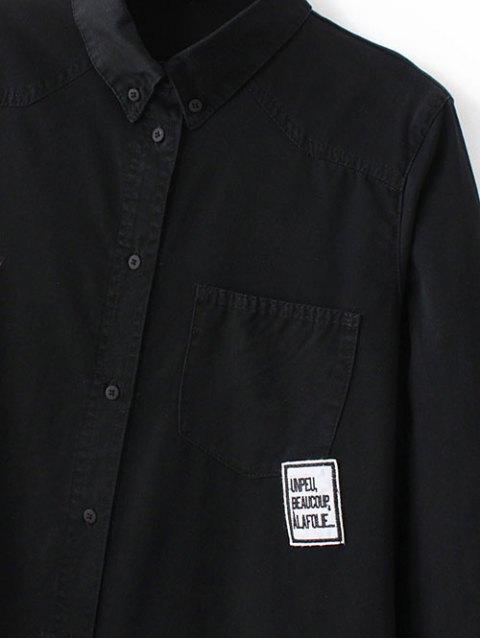 women Letter Patch Long Sleeve Denim Shirt - BLACK L Mobile