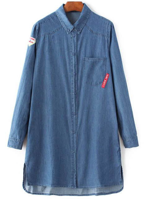 lady Letter Patch Long Sleeve Denim Shirt - BLUE L Mobile