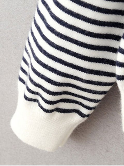 womens Striped Round Neck Pullover Knitwear - WHITE AND BLACK ONE SIZE Mobile