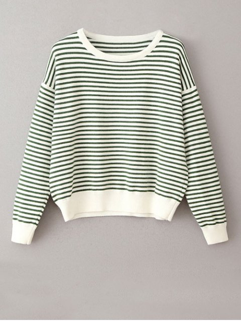 women Striped Round Neck Pullover Knitwear - WHITE AND GREEN ONE SIZE Mobile