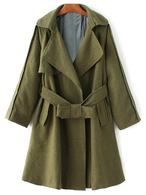 outfit Wool Blend Lapel Collar Wrap Coat - GREEN M Mobile