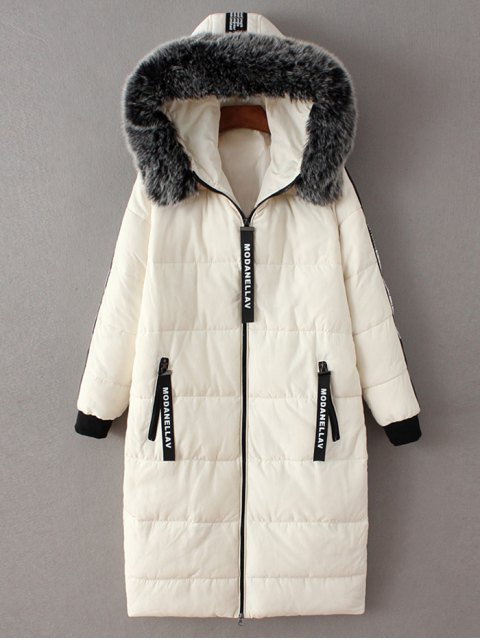 fashion Hooded Number Patch Quilted Coat - WHITE S Mobile