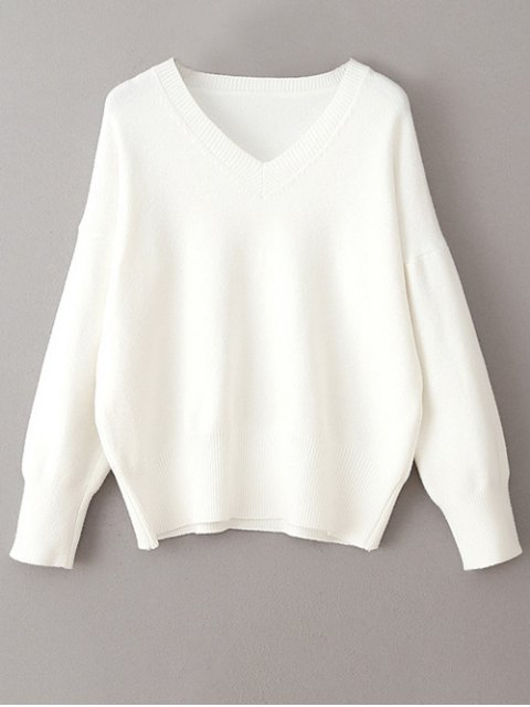 lady V Neck Long Sleeve Pullover Knitwear - WHITE ONE SIZE Mobile