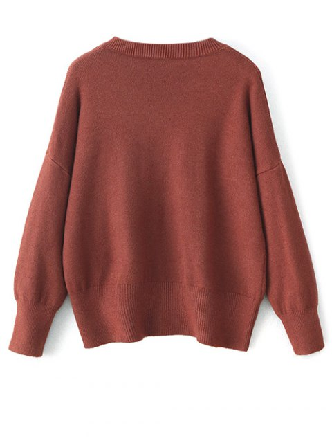 online V Neck Long Sleeve Pullover Knitwear - BRICK-RED ONE SIZE Mobile
