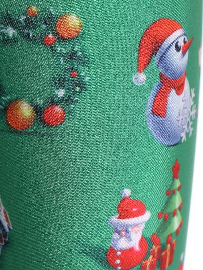Santa Claus Skinny Leggings - GREEN S Mobile