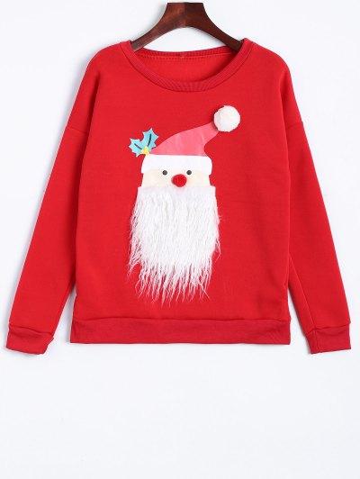 Christmas Fleece Sweatshirt - RED M Mobile