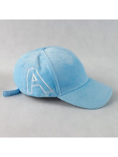 Warm Letter A Embroidery Plush Baseball Hat - CLOUDY  Mobile