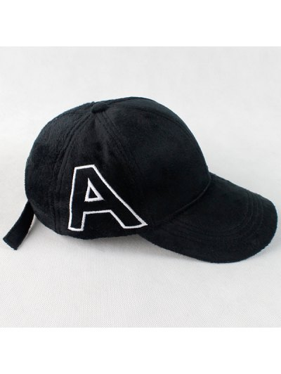 Warm Letter A Embroidery Plush Baseball Hat - BLACK  Mobile