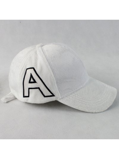 Warm Letter A Embroidery Plush Baseball Hat - WHITE  Mobile