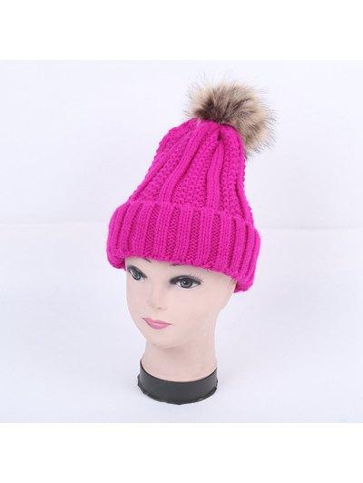 Winter Stripy Flanging Pom Hat - BRIGHT PINK  Mobile