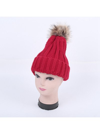 Winter Stripy Flanging Pom Hat - RED  Mobile