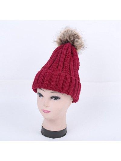 Winter Stripy Flanging Pom Hat - BURGUNDY  Mobile