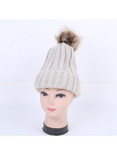 Winter Stripy Flanging Pom Hat - LIGHT GRAY  Mobile