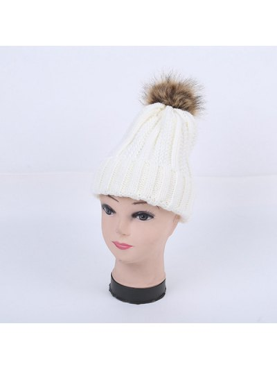 Winter Stripy Flanging Pom Hat - WHITE  Mobile