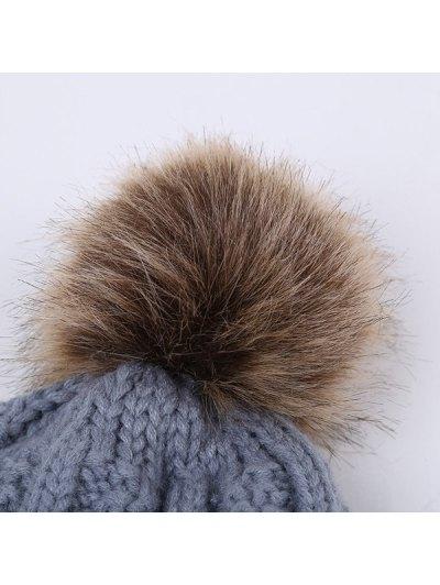 Winter Stripy Flanging Pom Hat - GRAY  Mobile