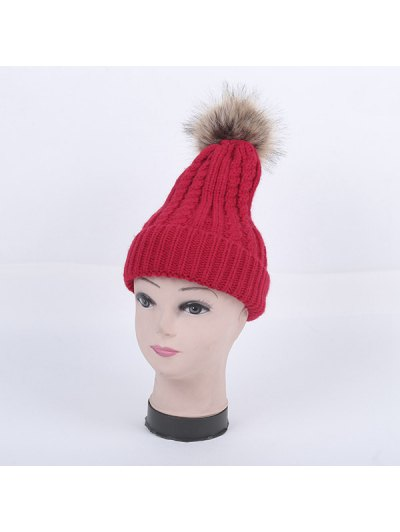Winter Cable Knit Pom Hat - RED  Mobile
