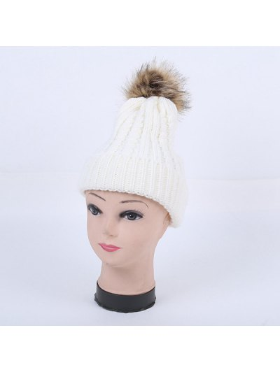 Winter Cable Knit Pom Hat - WHITE  Mobile
