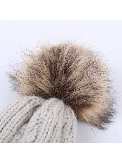 Winter Cable Knit Pom Hat - PINK  Mobile