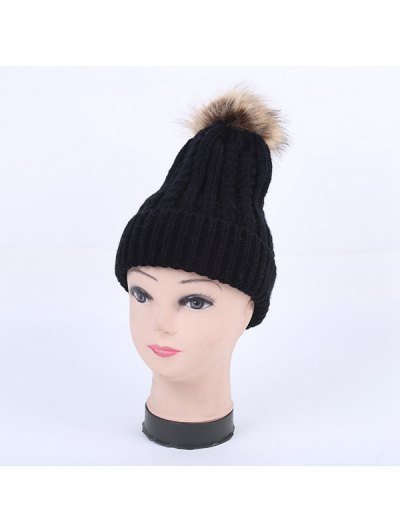 Winter Cable Knit Pom Hat - BLACK  Mobile