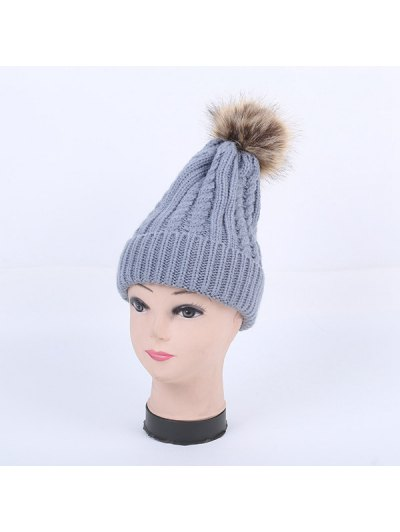 Winter Cable Knit Pom Hat - GRAY  Mobile