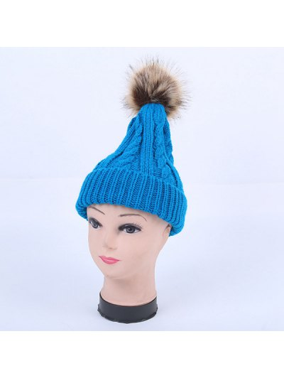 Winter Stripy Cable Knit Pom Hat - LAKE BLUE  Mobile