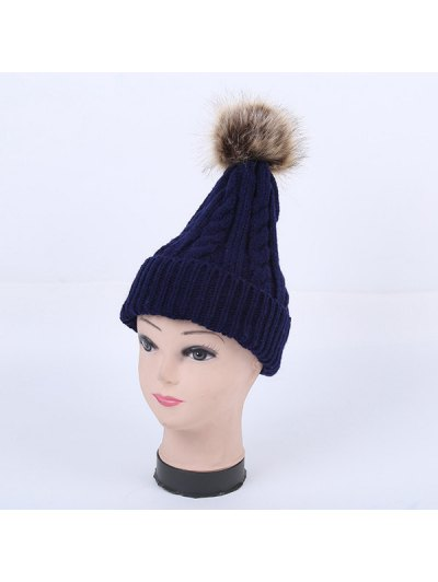 Winter Stripy Cable Knit Pom Hat - CADETBLUE  Mobile