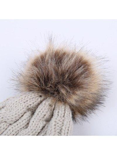 Winter Stripy Cable Knit Pom Hat - BLACK  Mobile
