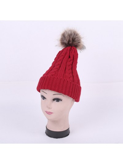 Winter Stripy Cable Knit Pom Hat - RED  Mobile
