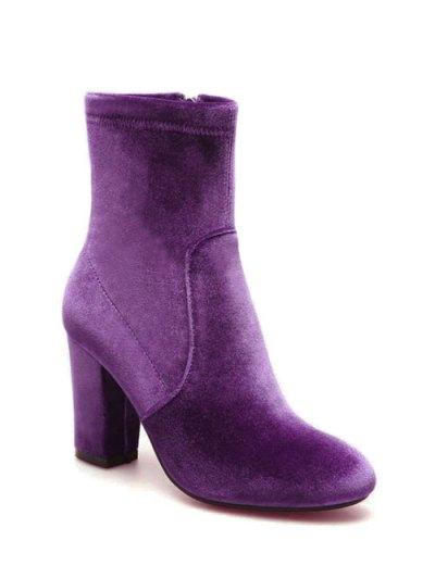 Chunky Heel Velvet Sock Boots - PURPLE 37 Mobile