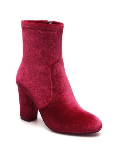 Chunky Heel Velvet Sock Boots - RED 37 Mobile