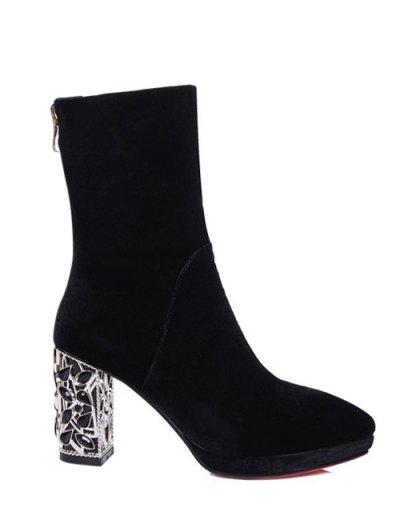 Metal Chunky Heel Velvet Sock Boots - BLACK 39 Mobile
