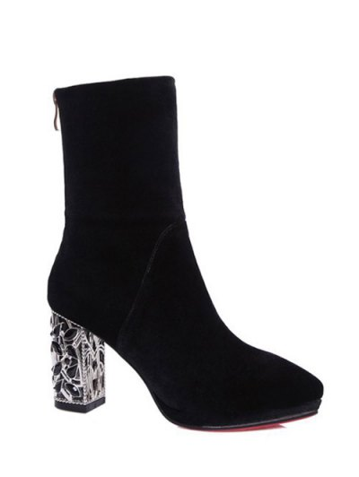 Metal Chunky Heel Velvet Sock Boots - BLACK 38 Mobile
