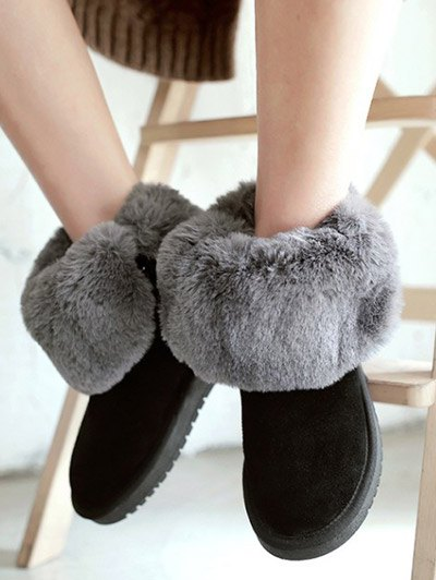 Fold Down Fuzzy Snow Boots - BLACK 39 Mobile