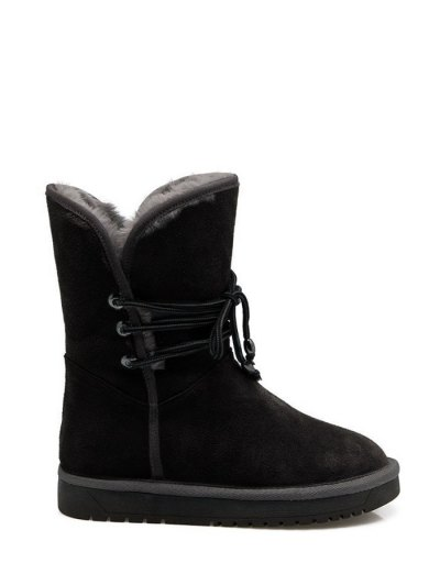 Fold Down Fuzzy Snow Boots - BLACK 38 Mobile