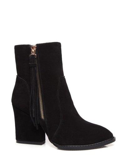 Chunky Heel Tassel Short Boots - BLACK 39 Mobile