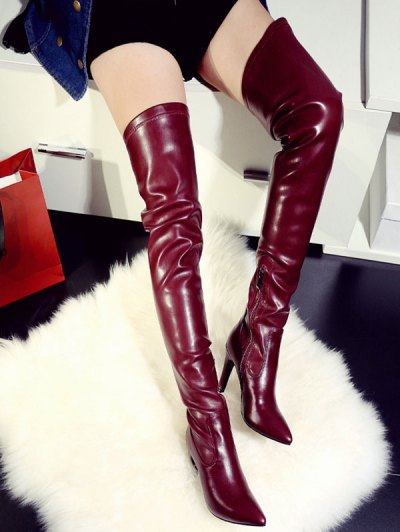 Stiletto Heel Pointed Toe Leather Thigh Boots - WINE RED 37 Mobile