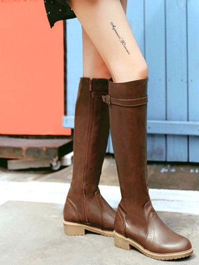 Vintage Buckle Strap Knee High Boots - BROWN 39 Mobile