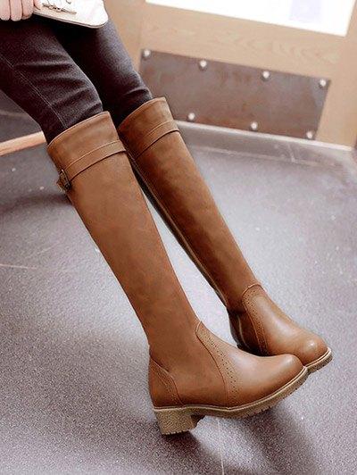 Vintage Buckle Strap Knee High Boots - LIGHT BROWN 38 Mobile