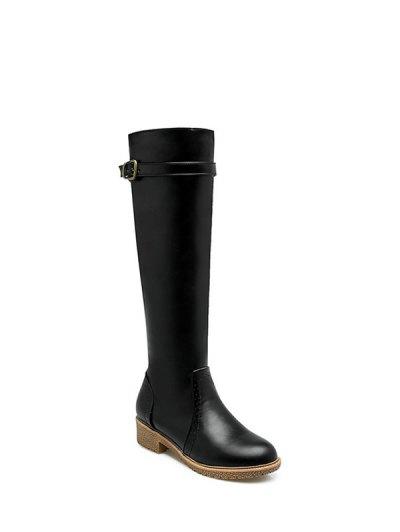 Vintage Buckle Strap Knee High Boots - BLACK 37 Mobile