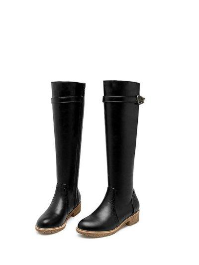 Vintage Buckle Strap Knee High Boots - BLACK 38 Mobile