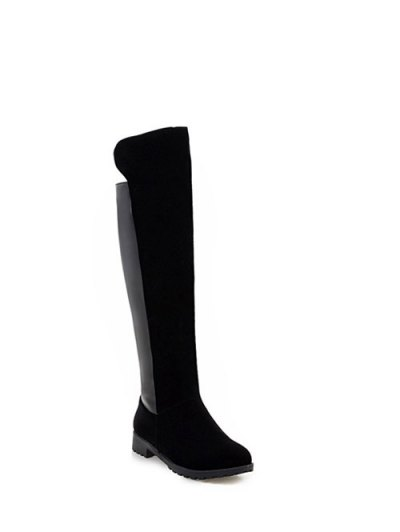 PU Leather Panel Knee High Boots - BLACK 39 Mobile
