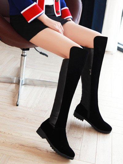PU Leather Panel Knee High Boots - BLACK 37 Mobile