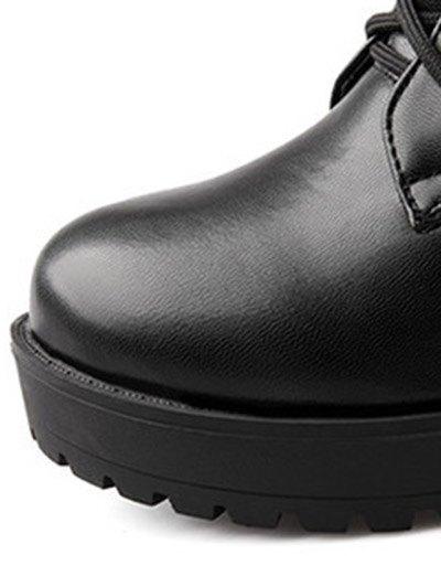 Chunky Heel Mid Calf Combat Boots - BLACK 39 Mobile