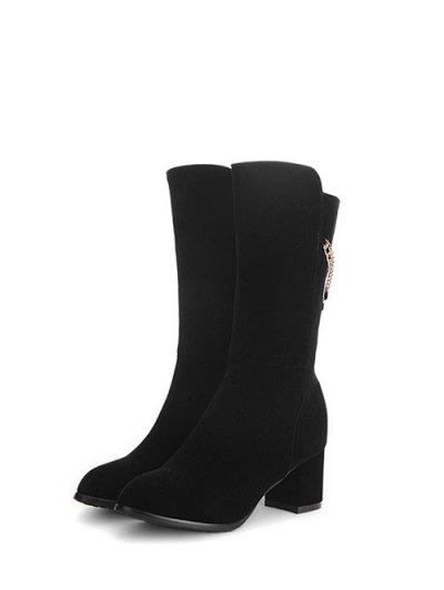 Chunky Heel Metallic Chains Mid Calf Boots - BLACK 39 Mobile