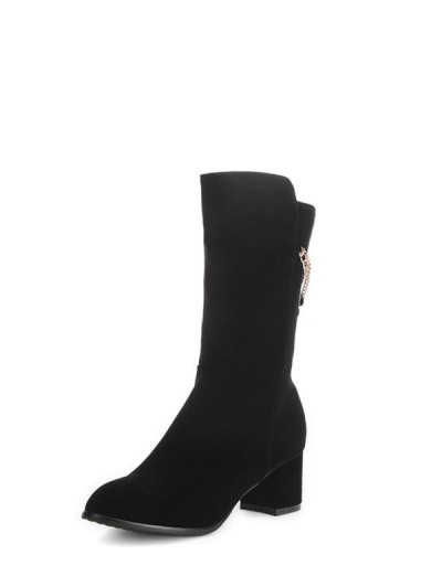 Chunky Heel Metallic Chains Mid Calf Boots - BLACK 37 Mobile