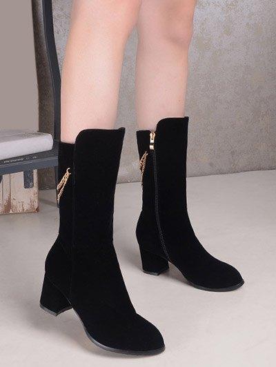 Chunky Heel Metallic Chains Mid Calf Boots - BLACK 38 Mobile