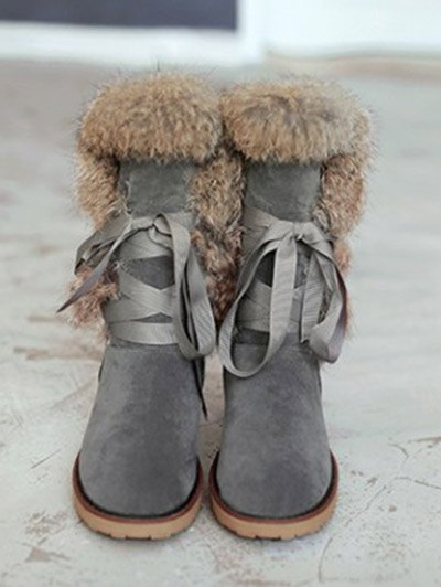 Ribbon Furry Snow Boots - GRAY 39 Mobile